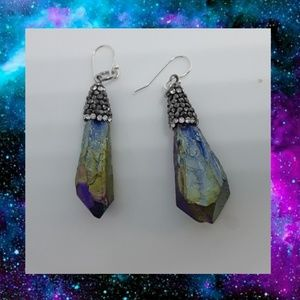 Sterling plated iridescent earrings